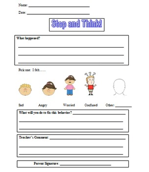 Behavior Sheet