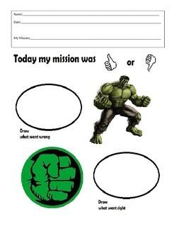 Behavior Sheet- Hulk - Think Sheet