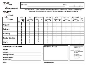 Behavior Sheet - Upper Grades