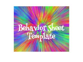 Behavior Sheet template