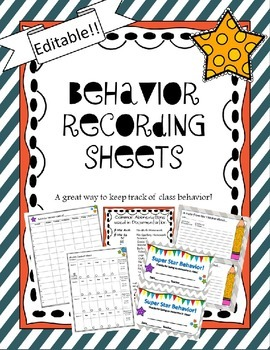 Behavior Sheets  (Editable)