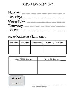Behavior Sheets for Student Folders