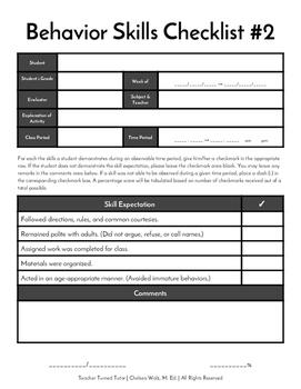 Behavior Skills Checklist #2