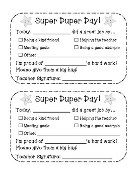 Behavior Slip Packet (Positive and Negative Notes)