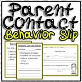 Behavior Slip Parent Contact English/ Spanish Translation
