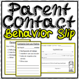 Behavior Slip Parent Contact English/ Spanish Translation