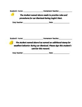 Behavior Slips for Car Dismissal