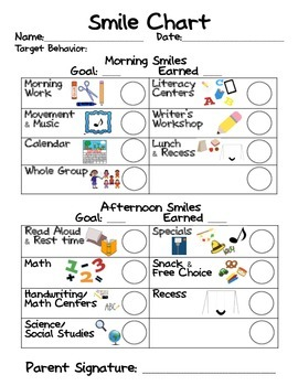 Behavior / Smile Chart for Individual Student