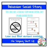 Behavior Social Story: No Saying Shut Up