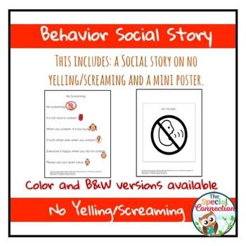 Behavior Social Story: No Yelling/Screaming
