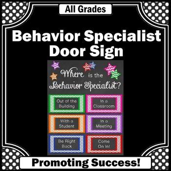 Behavior Specialist Teacher Door Sign, Special Education Classroom Decor