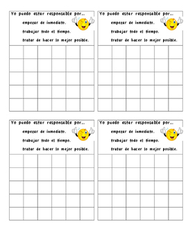 Behavior Sticker Chart- Spanish
