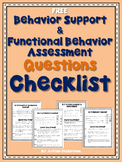 Free Behavior Support & Functional Behavior Assessment Checklist (Free)