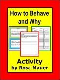School Behavior Task Cards and Worksheets