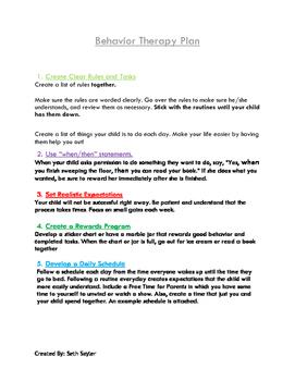 Behavior Therapy Plan