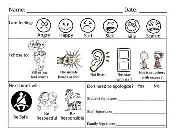 Behavior Think / Reflection Sheets