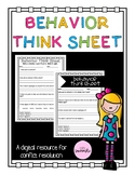 Behavior Think Sheet and Apology Templates