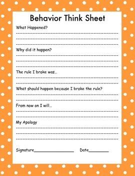 Behavior Think Sheet