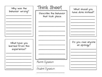 """Behavior """"Think"""" Sheet"""