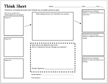 Behavior / Think Sheet