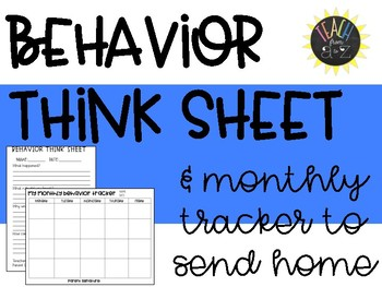 Behavior Think Sheet & Monthly Tracker