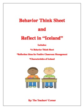 """Behavior Think Sheet and Reflect in """"Iceland"""""""