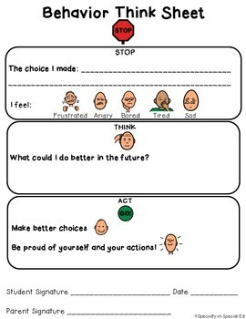 Behavior Think Sheet for Autism Classroom - VISUAL behavior reflection!