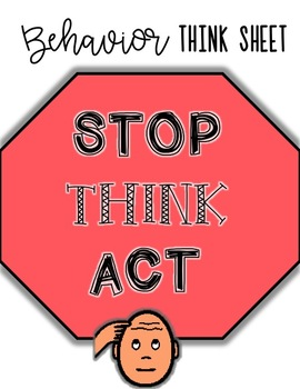 Behavior Think Sheet for Autism Classroom - with visuals!