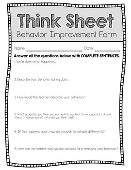 Behavior Think Sheet for Elementary Specials Classes | TpT