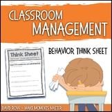 Behavior Think Sheet for Elementary Specials Classes