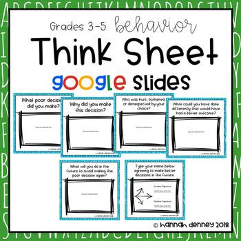 Behavior Think Sheet for Google Slides Grades 3-5