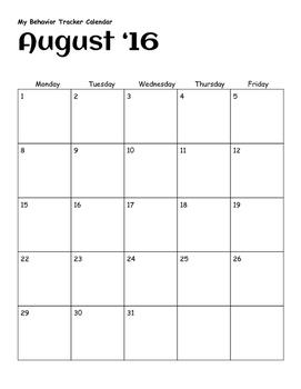 Behavior Tracker Calendar