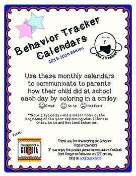 Behavior Tracker Calendars 2015-2016