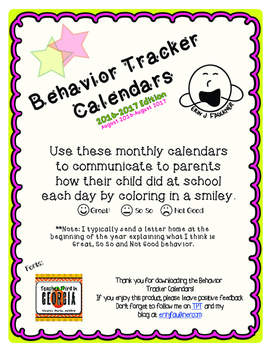 Behavior Tracker Calendars 2016-2017