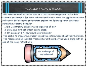 Behavior Tracker-In Charge and On Task