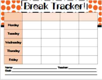 Behavior Trackers for Break Tickets - Set A (Upper Elementary/Middle)