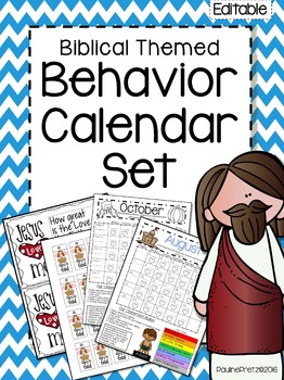 Behavior Tracking Calendars - Biblical themed (Editable)
