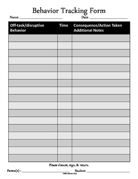 Behavior Tracking Form