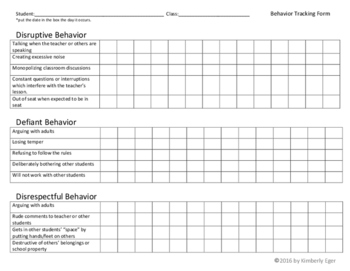Behavior Tracking Form  (Disruptive, Defiant, Disrespectful)