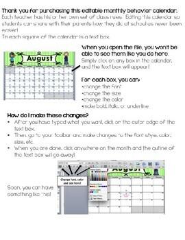 Behavior Tracking Made Easy! An Editable Monthly Behavior Calendar