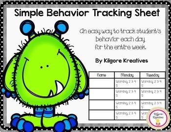 Behavior Tracking Sheet  {Freebie}