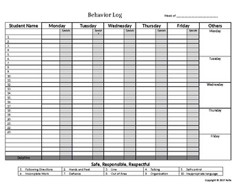 Behavior Tracking Sheet