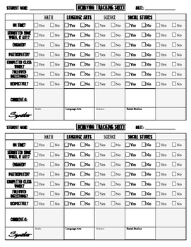 Behavior Tracking Sheet / Behavior Chart