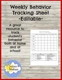 Behavior Tracking Sheet - Editable