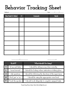 Behavior Tracking Sheet with SLANT and Guidelines