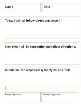 Behavior Tracking-Think Sheets: Editable