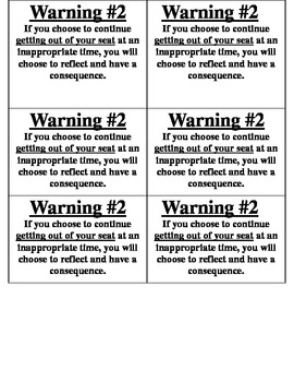 Behavior Warning Cards***EDITABLE***