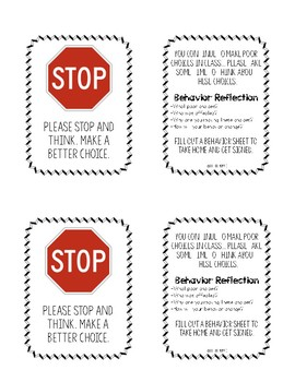 Behavior Warning Cards & Reflection Sheet