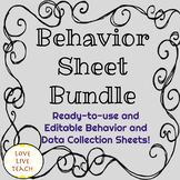 Behavior and Data Collection Sheets Bundle! Editable and R