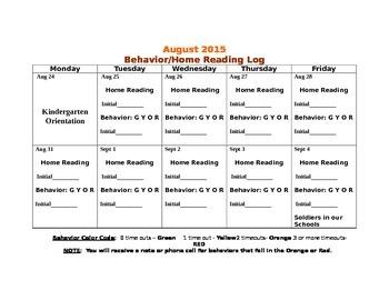 Behavior and Home Reading Calendars 2015-2016